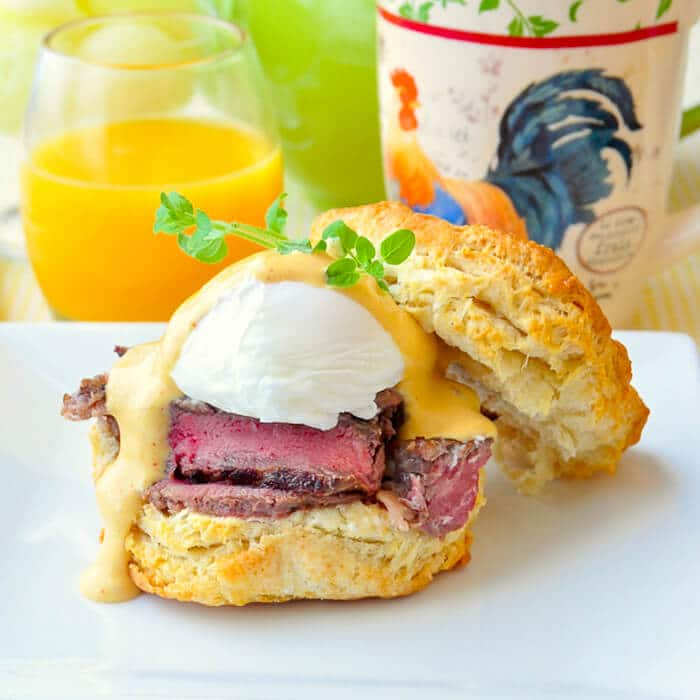 Steak & Eggs Benedict with Brown Butter Sriracha Hollandaise Sauce