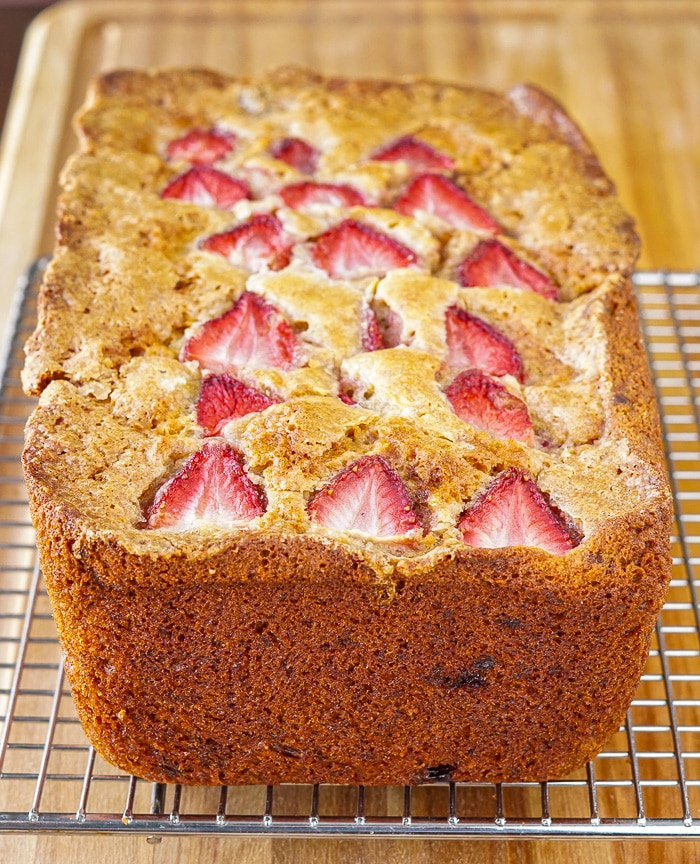 Strawberry Banana Bread cooling on a wire rack