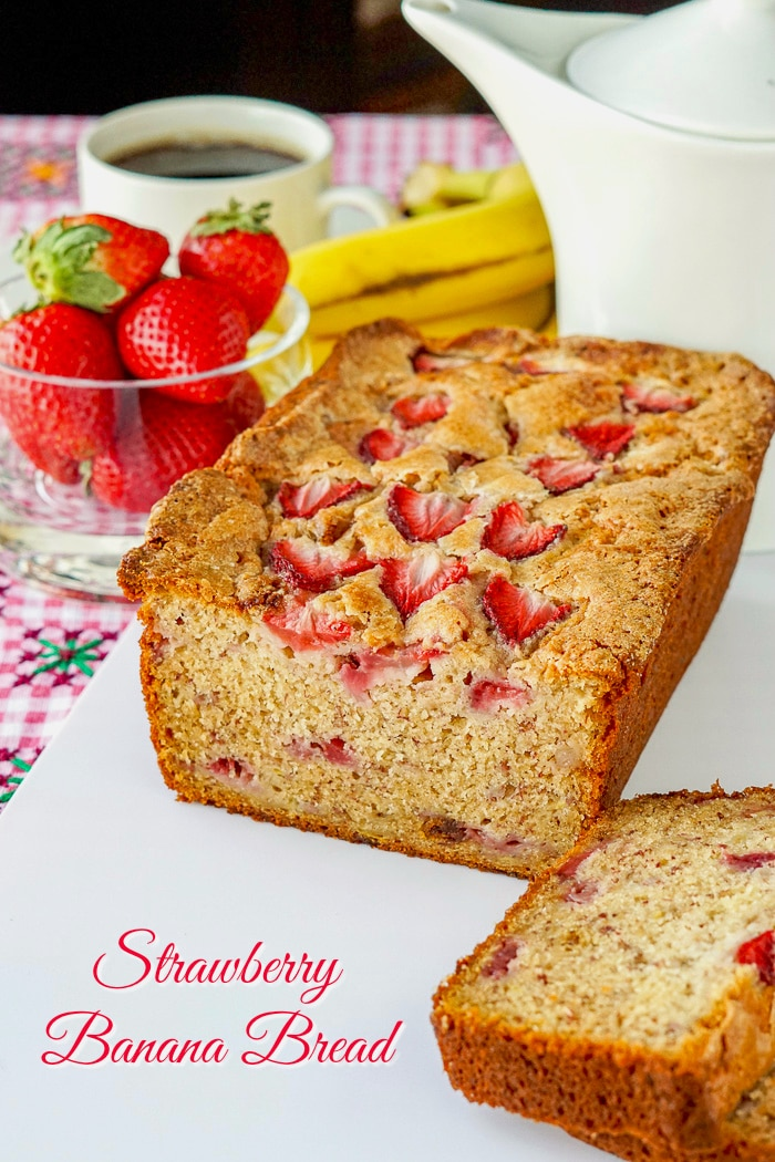 Strawberry Banana Bread photo with title text for Pinterest