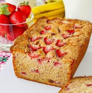 Strawberry Banana Bread close up photo