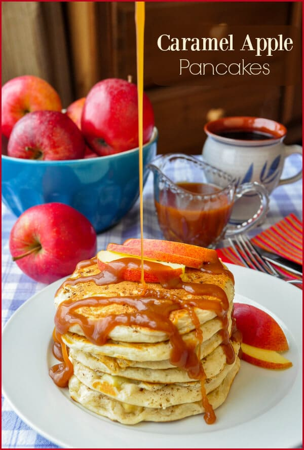 Caramel Apple Pancakes, a best brunch recipe! Perfect for Pancake Day!