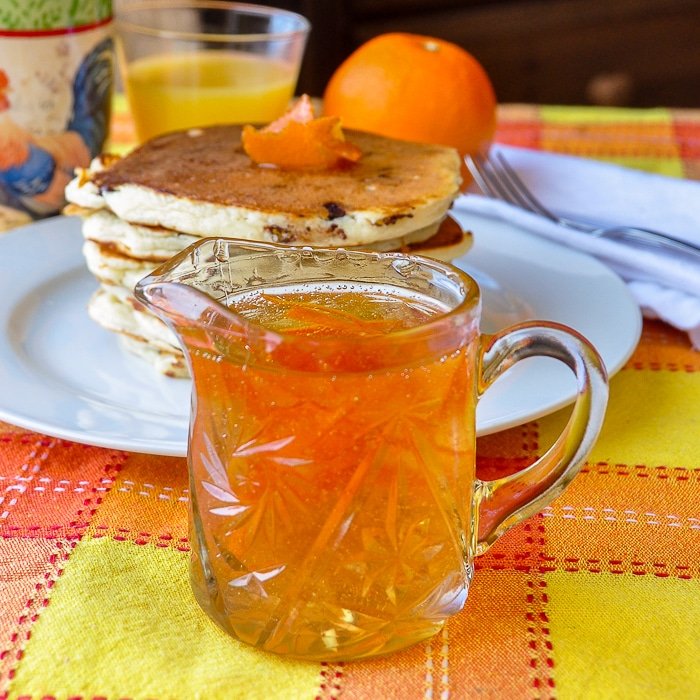 Homemade Orange Infused Syrup for Chocolate Chip Buttermilk Biscuits