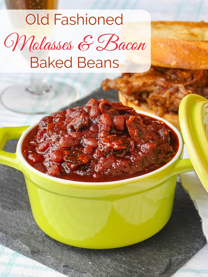 Old Fashioned Molasses and Bacon Baked Beans photo with title text for Pinterest