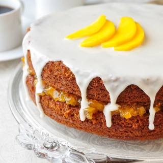 One Bowl Gingerbread Cake with Mango Vanilla Jam