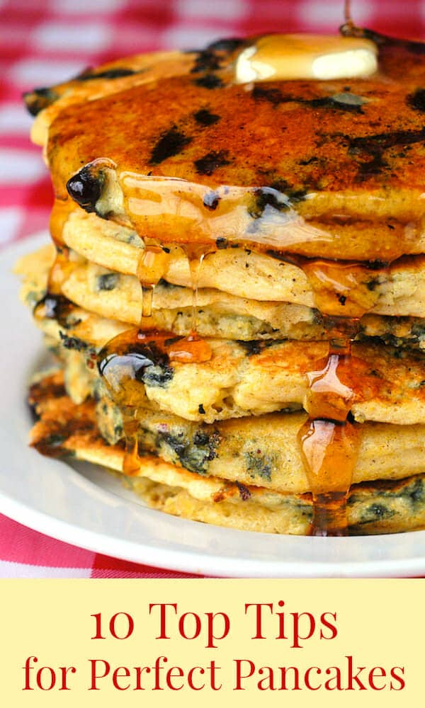 Ten Top Tips for Perfect Pancakes., image with title text for Pinterest.