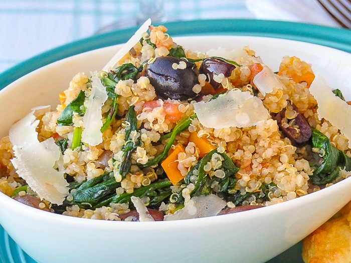 Spinach Parmesan Quinoa close up photo of a single serving