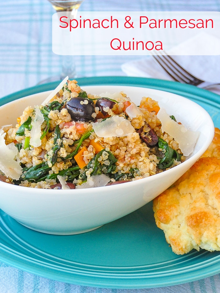 Spinach Parmesan Quinoa photo with title text for Pinterest