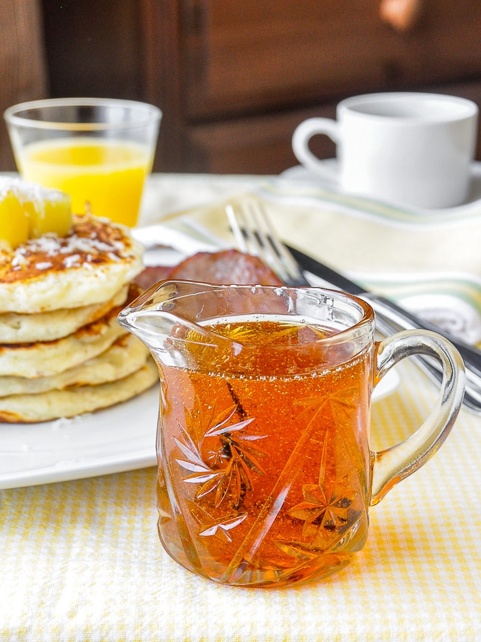 Vanilla Rum Syrup in serving jug for Pina Colada Pancakes