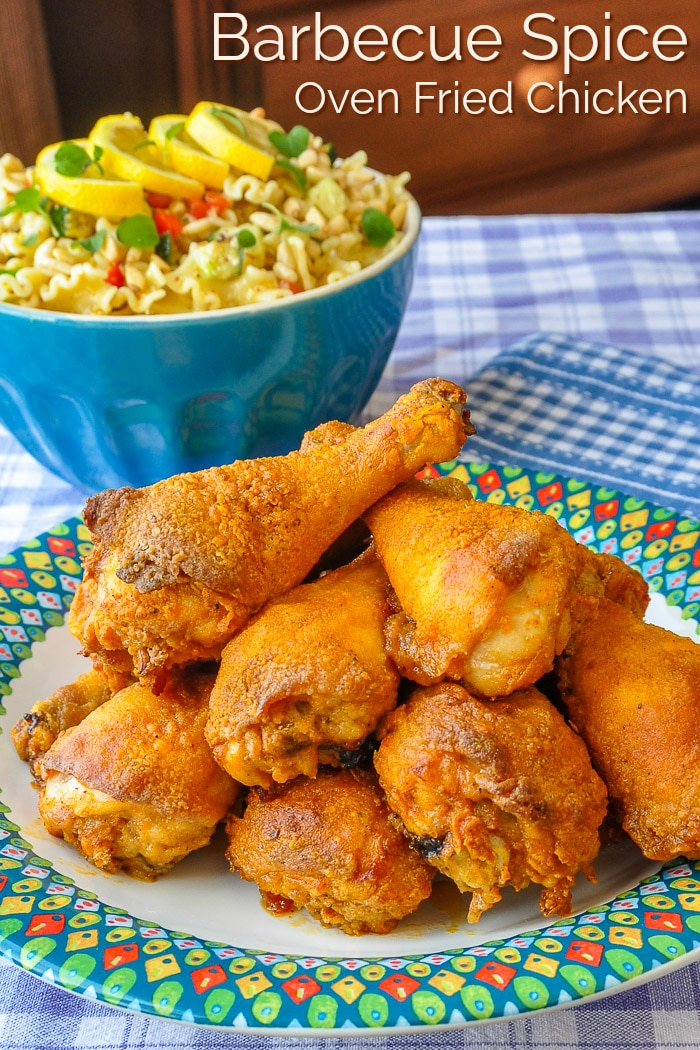 Barbecue Spice Oven Fried Chicken photo with title text for Pinterest