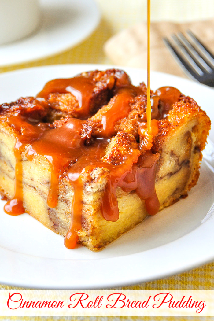 Cinnamon Roll Bread Pudding photo with title text added for Pinterest