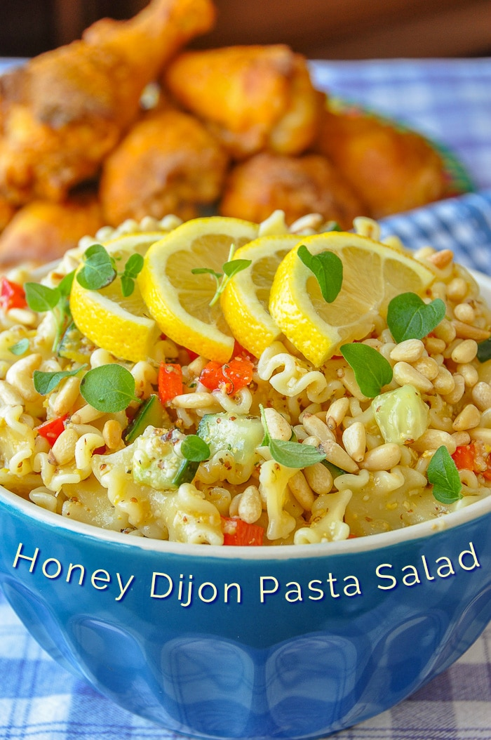 Easy Honey Dijon Pasta Salad. A great lunch item, side dish, pot luck addition or picnic take along recipe. #pastasalad #sidedishes#easysidedishes #BBQsidedishes