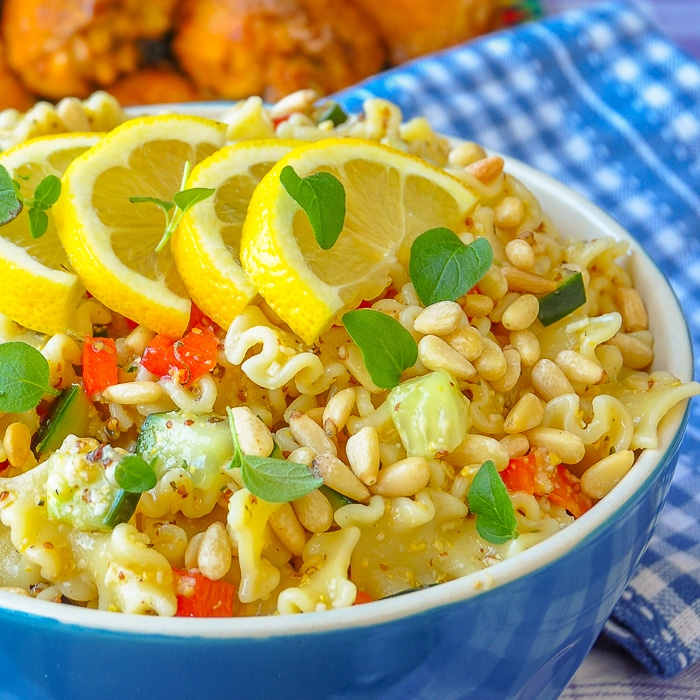 Honey Dijon Pasta Salad square cropped featured image