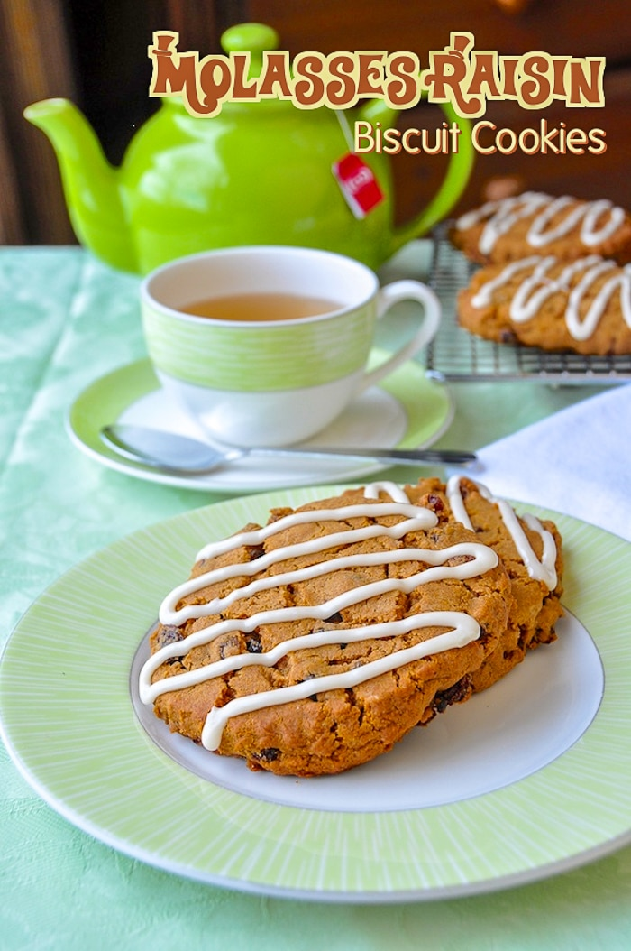 Molasses Raisin Biscuit Cookies image with title text for Pinterest