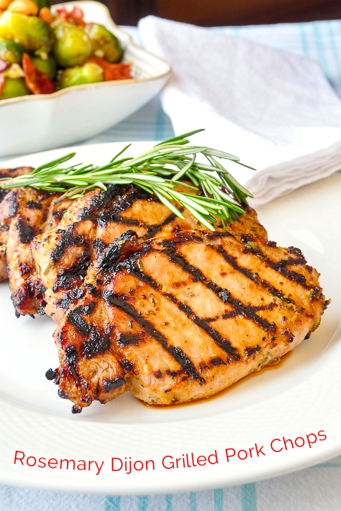 Rosemary Dijon Grilled Pork Chops photo with title text for Pinterest