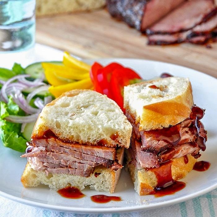 BBQ Beef Brisket Sandwich cut on a plate