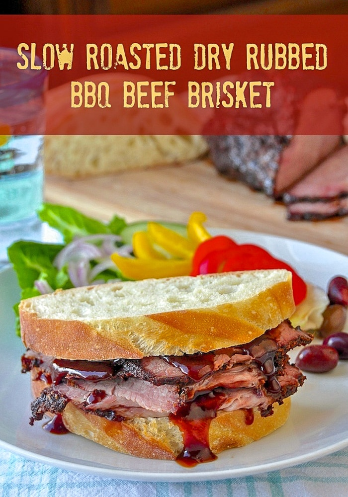 BBQ Beef Brisket Sandwich image with tile text for Pinterest