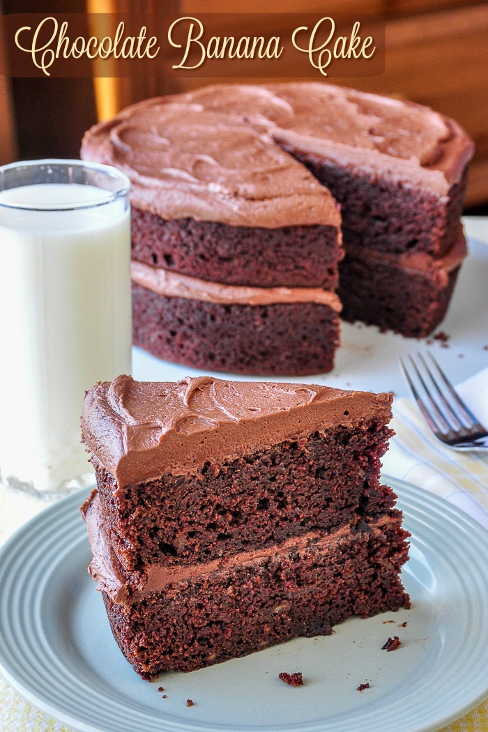 Chocolate Banana Cake photo with title text for Pinterest