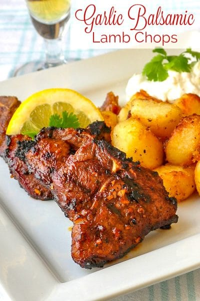 Garlic Balsamic Lamb Chops photo with title text for Pinterest