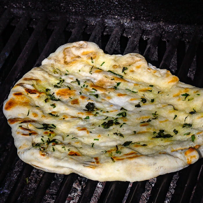 Grilled Flatbread for Steak Souvlaki. Shown on outdoor gas grill.