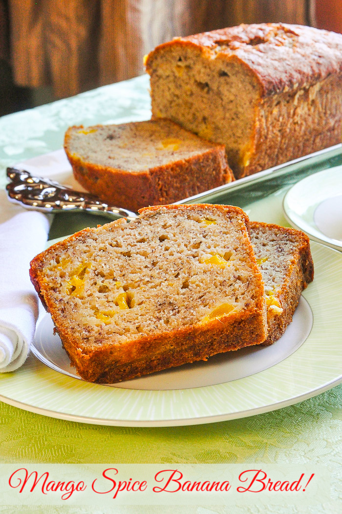 Mango Spice Banana Bread photo of slices on a green plate with title text added for Pinterest
