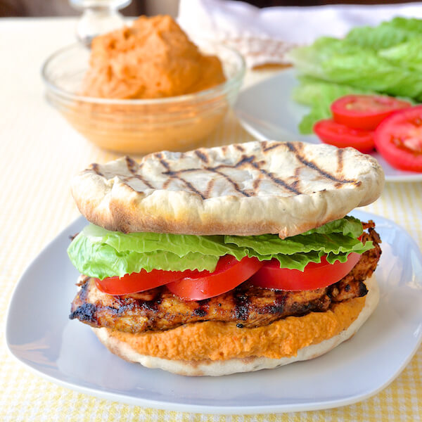 Moroccan Marinated Flatbread Grilled Chicken Burgers with Red Pepper Hummus