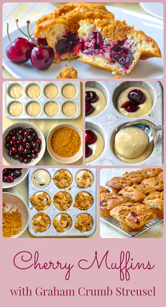 Cherry Muffins Photo Collage with title text added for Pinterest