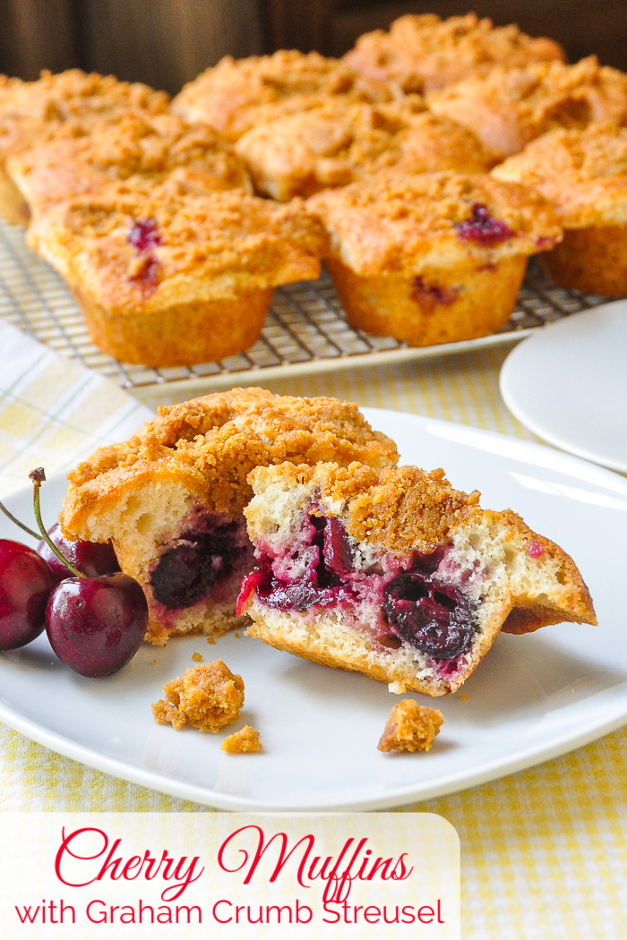 Cherry Muffins on a white plate with title text added for Pinterest
