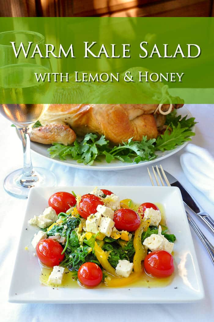Warm Kale Salad with Lemon & Honey photo with title text added for Pinterest.