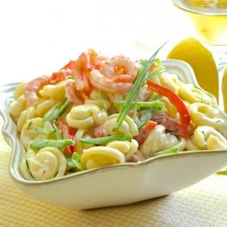 Lemon Shrimp Pasta Salad using a low fat yogurt based dressing.