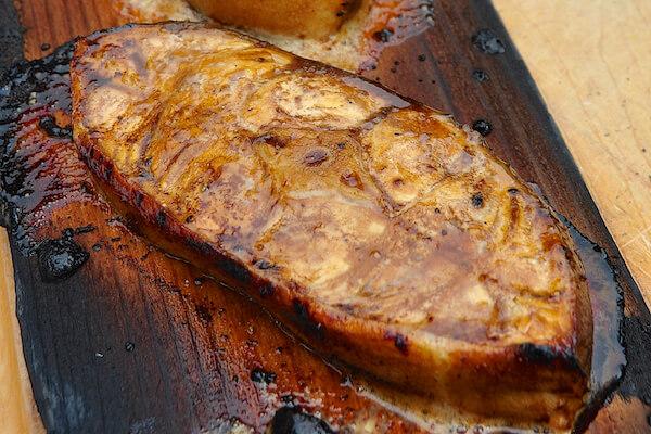 Cedar Plank Halibut with Charred Tomato Avocado Salsa