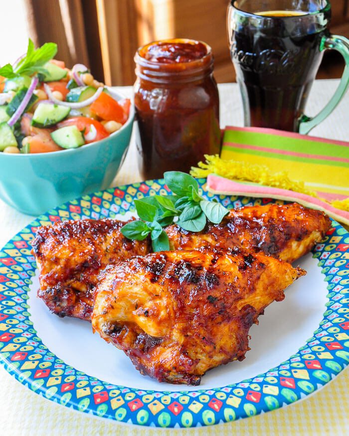 Coca Cola Barbecue Sauce on grilled chicken