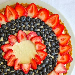 No Bake White Chocolate Cheesecake Tart close up photo for featured image