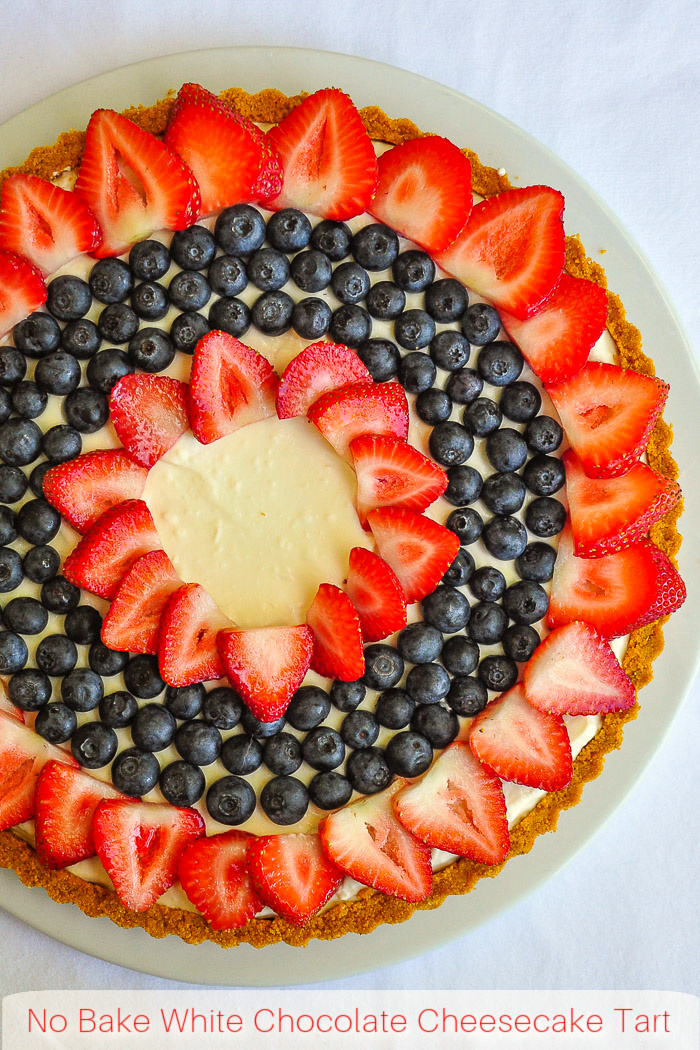 No Bake White Chocolate Cheesecake Tart photo with title text added for Pinterest