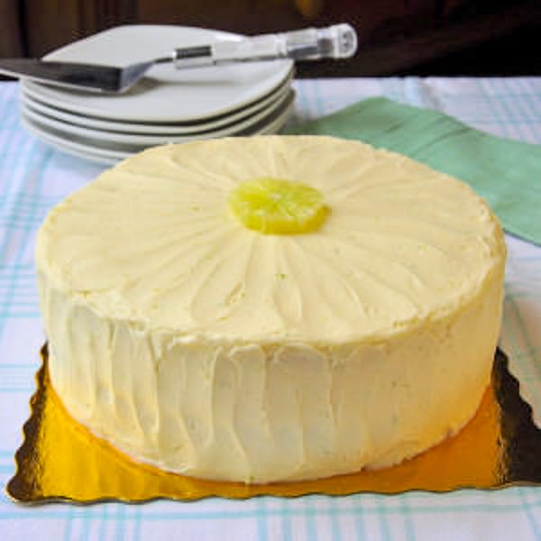 Lime Velvet Cake photo of uncut cake on a cgold coloured cake board