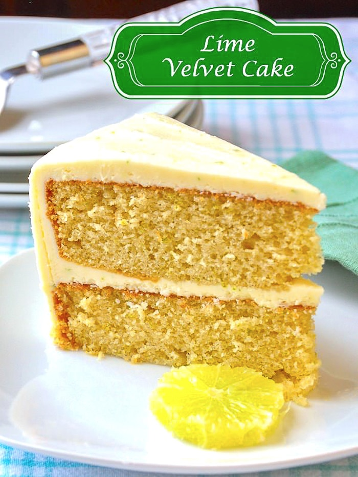 Lime Velvet Cake photo with title text added for Pinterest