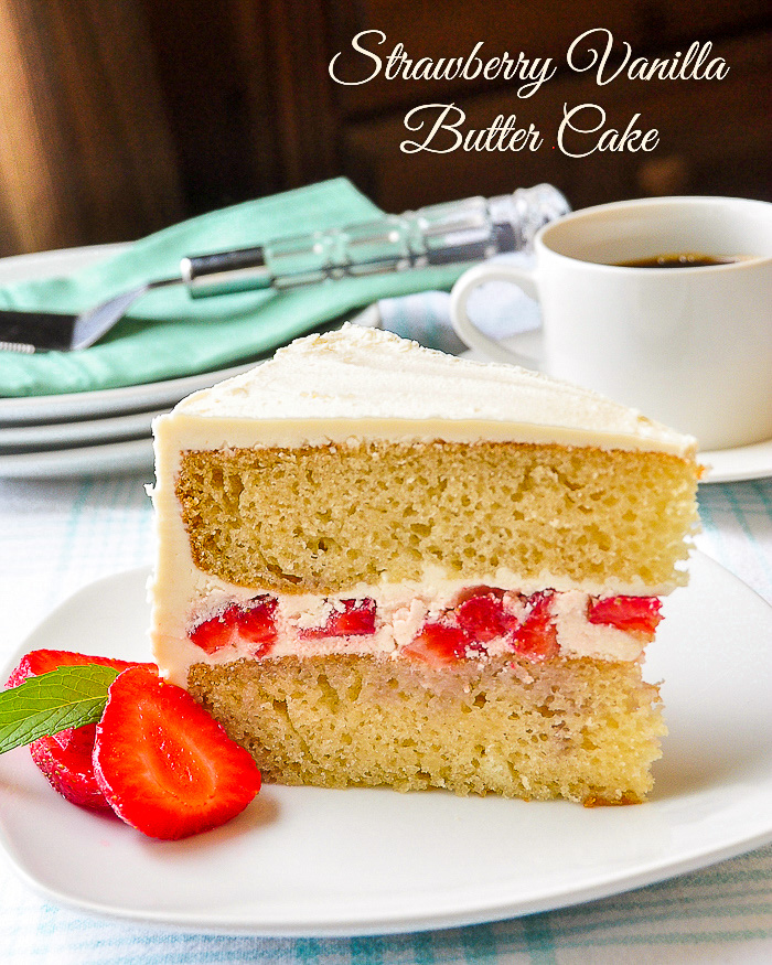 Strawberry Vanilla Butter Cake photo of a single slice with title text added for Pinterest