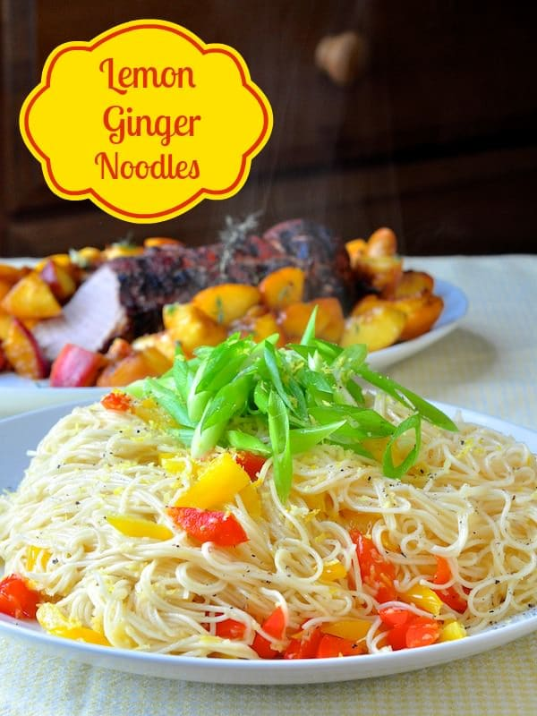 Lemon Ginger Noodles. So fresh tasting and delicious plus they're easy to make too. A perfect side dish for garlic chicken or grilled fish or pork. #asianinspired #lemon #ginger #noodles