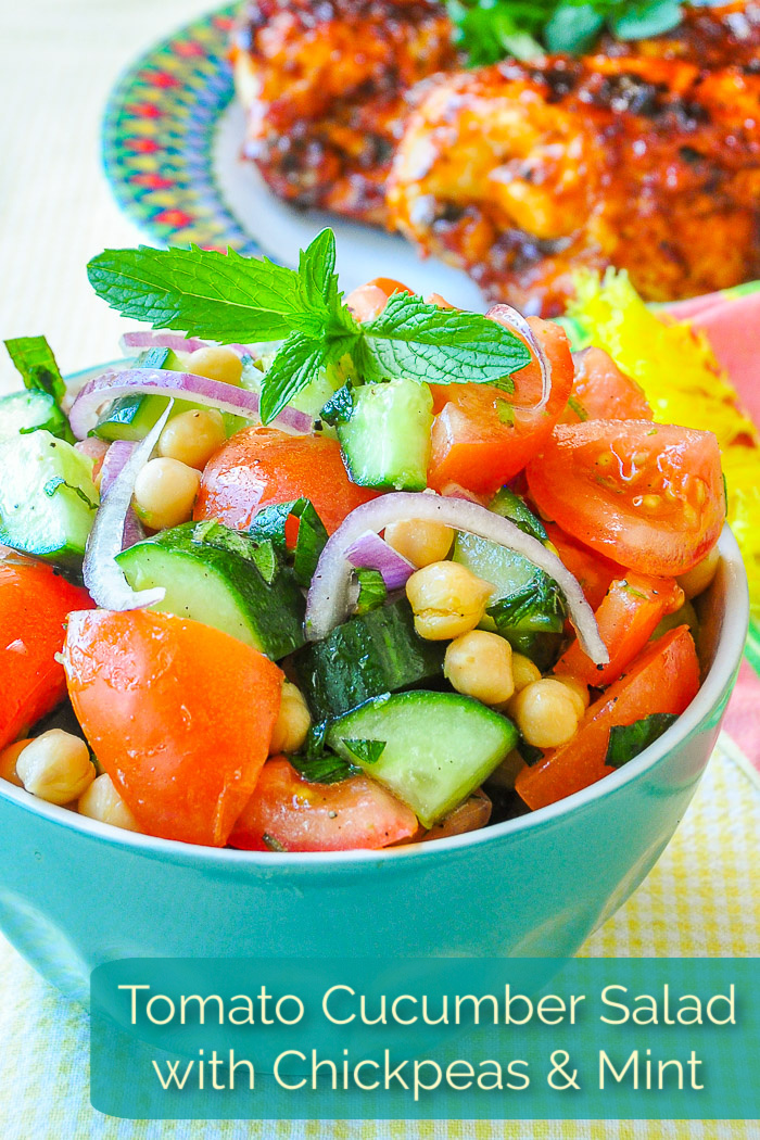 Tomato Cucumber Salad with Chickpeas & Mint photo with title text added for Pinterest