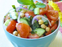 Chickpea Mint Tomato Cucumber Salad