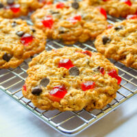 Chocolate Cherry Oatmeal Cookies cooling on a wire rack