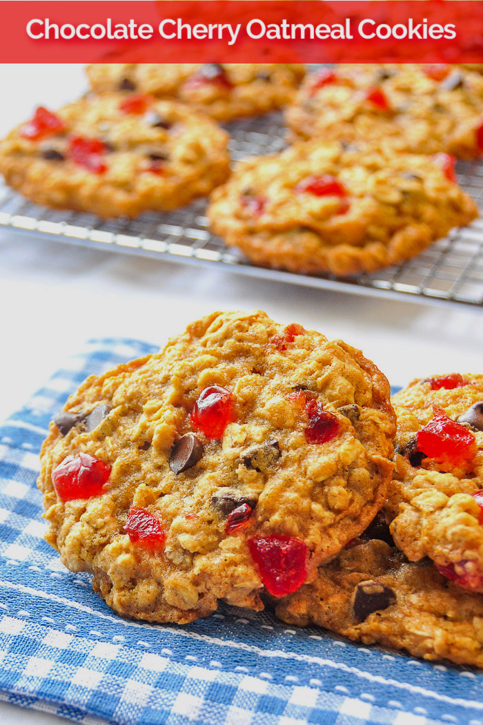 Chocolate Cherry Oatmeal Cookies on a blue napkin with title text added for Pinterest