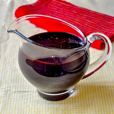 Chocolate Fudge Sauce shown in a clear glass serving jug.