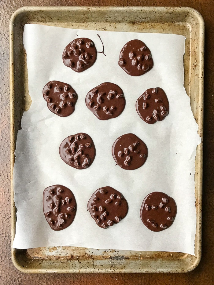 Chocolate Pavlova Cookies on a parchment lined cookie sheet ready for the oven