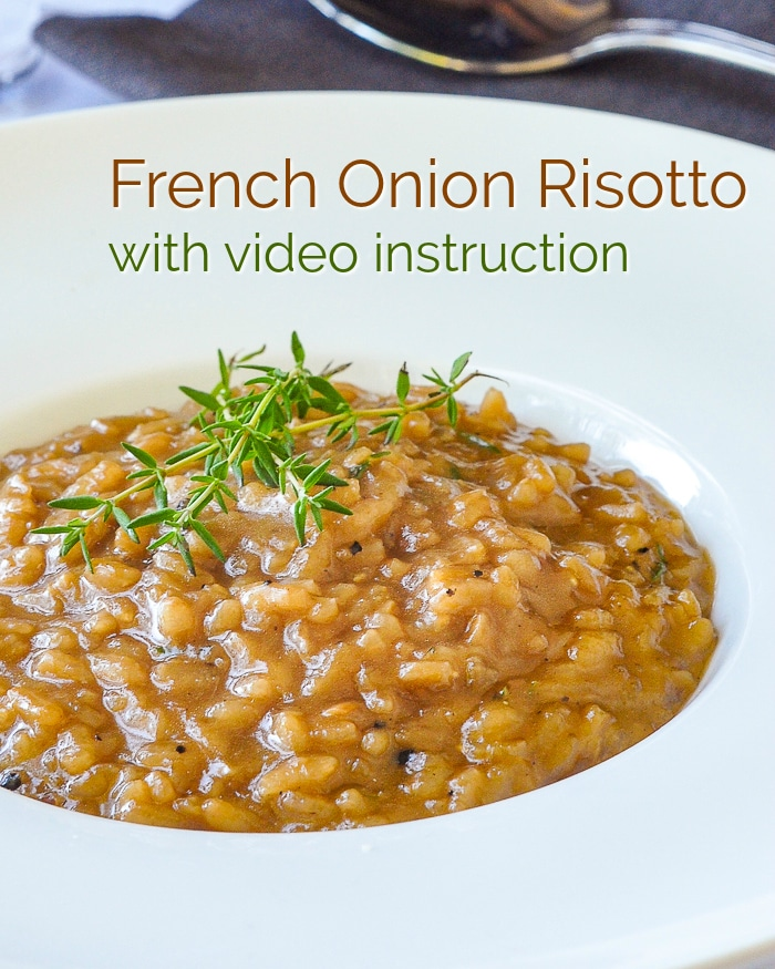 Easy French Onion Risotto Image with title text