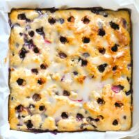 Overhead photo of Blueberry Lemon Drizzle Cake still in the baking pan