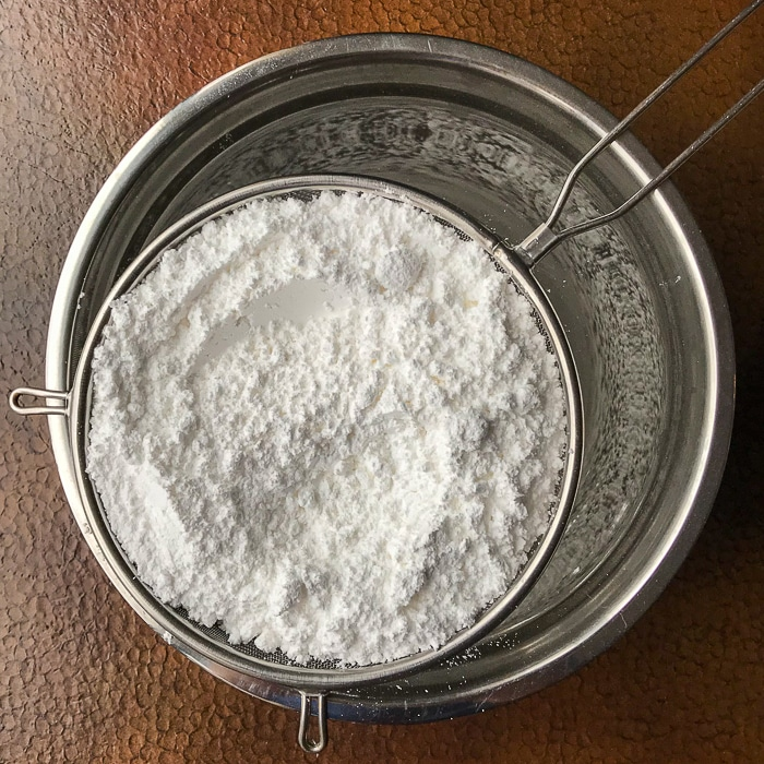 Sift the icing sugar (powdered sugar) to ensure no lumps in the batter