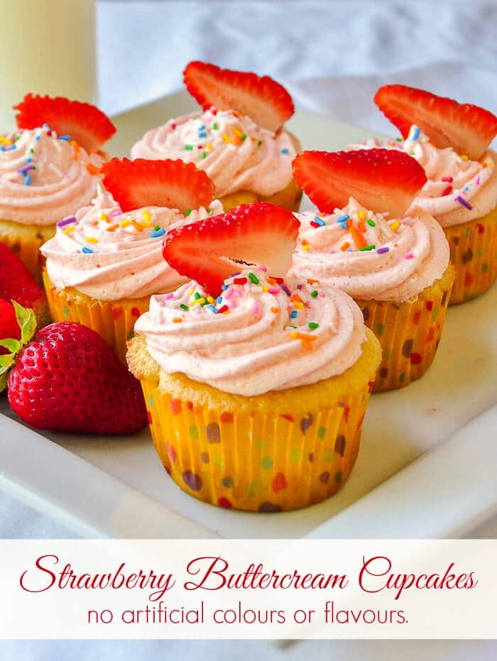 Strawberry Buttercream Cupcakes - no artificial, colours or flavours!