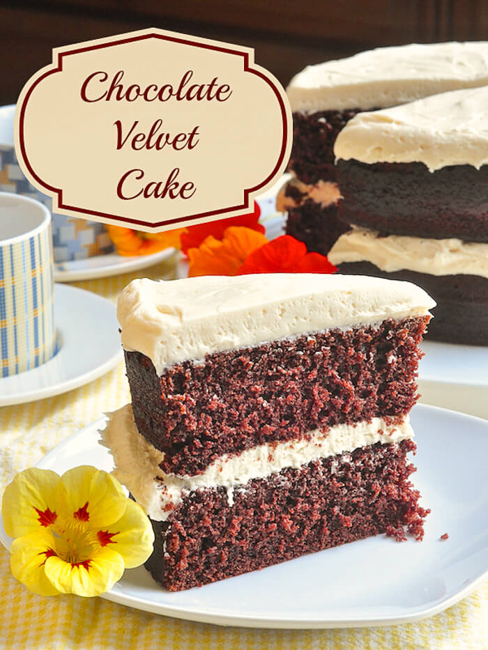 Chocolate Velvet Cake, this cake is soft, moist and with a very pleasing light crumb structure.