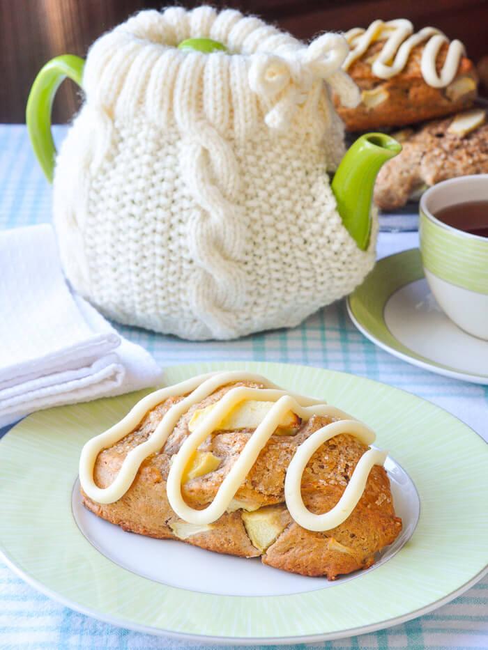 Apple Cinnamon Scones with Cream Cheese Glaze