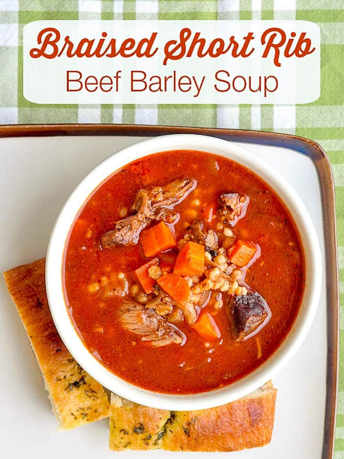 Braised Short Rib Beef Barley Soup image with title text